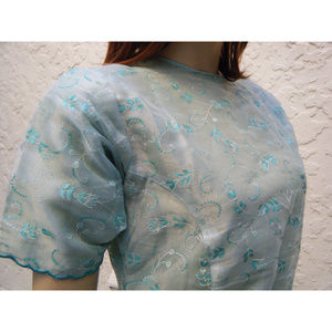 "Pale Blue-Green Embroidered Handmade Dress 30"" Bus"